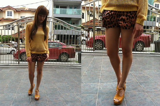 Ashley Liew - Mustard Crochet Sweater, Leopard Print Shorts, Peep Toe Mustard Platforms - It must be mustard