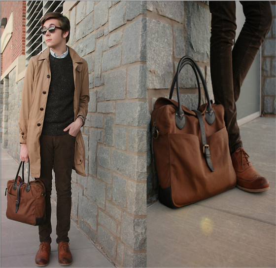 Cody D. - J. Crew Doctor Bag, Gifted Brogues, J. Crew Holborn Trench, J. Crew Marbled Wool Jumper, J. Crew Blue Pin Stripe Shirt, Zara Skinny Cords - Deep Autumn shades