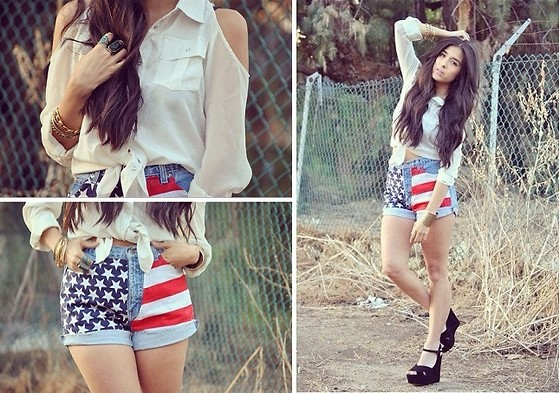 Rubi Ortiz - Diy American Shorts, Steve Madden, Open Shoulder Blouse - I'll wear America even during the fall.