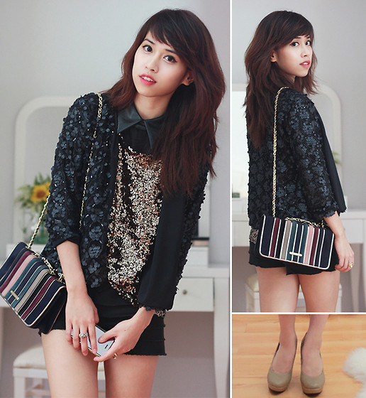 Linda Tran N - Sequined Outerwear, Random Store In Saigon Sequined Top, Shorts - Layering sequins ❤