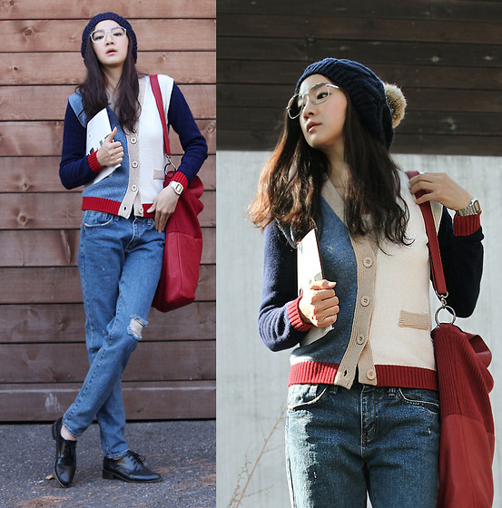 Becky Baek - Coloration Knit Cardigan, Knit Red Shoulder Bag, Denim Pants, Black Plain Toe Shoes - Vintage