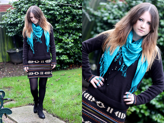 Heather Louise - H&M Scarf, H&M Jumper, Asos Dress, Topshop Boots - Ambush boots