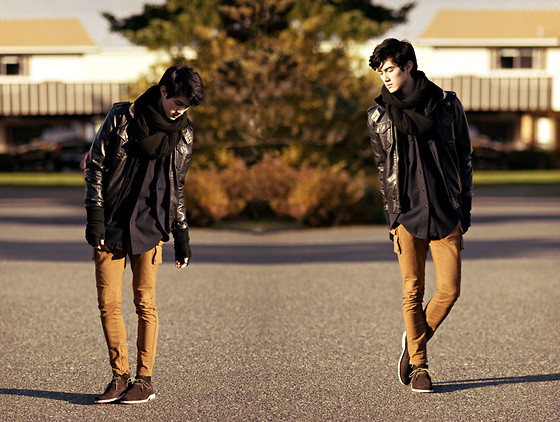 Nigel Lew - Topman Suede Desert Boots, Camel Skinnies, Zara Faux Leather - Diatomic growth