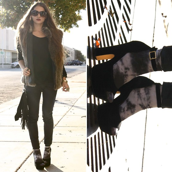 Kaitlyn Tru - Forever 21 Sunglasses, The Exchange Vest, Zara Top, Zara Wax Jeans, Steve Madden Heels - Tomorrows some type of stranger