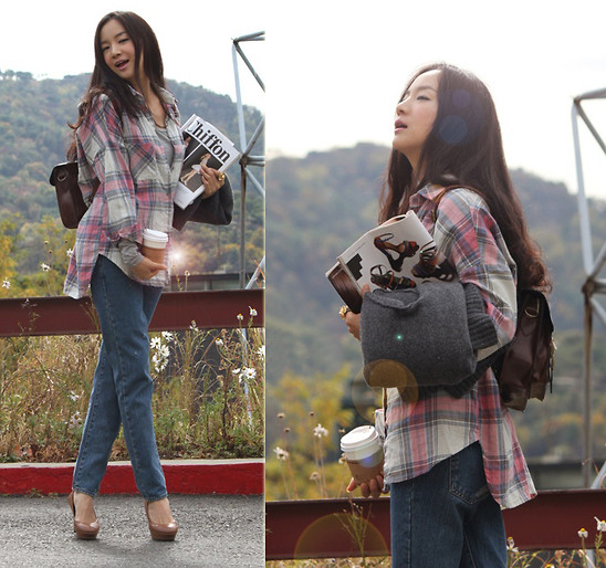 Becky Baek - Check Pattern Shirt, Vintage Denim Pants, Vintage Brown Bag, Brown Heels - A coffee break