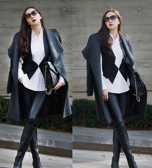Becky Baek - Dark Gray Alpaca Long Coat, White Shirt, Black Long Vest, Black Bag, Pocket Coloration Leggings, Leather Long Boots - Some·times