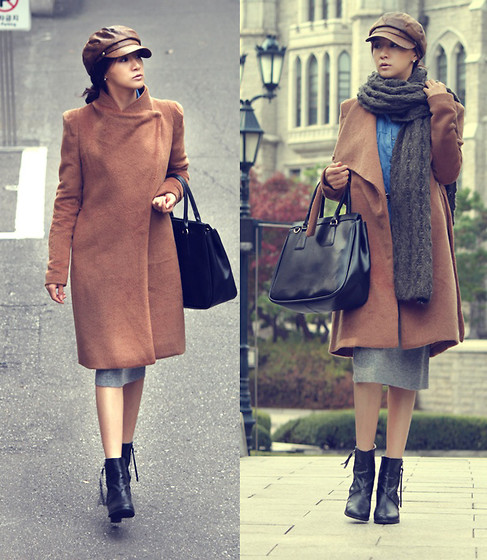 Becky Baek - Camel Color Alpaca Long Coat, Dark Brown Muffler, Blcak Tote Bag, Knitwear Skirt, Black Boots, Brown Newsboy Cap - A precious memory