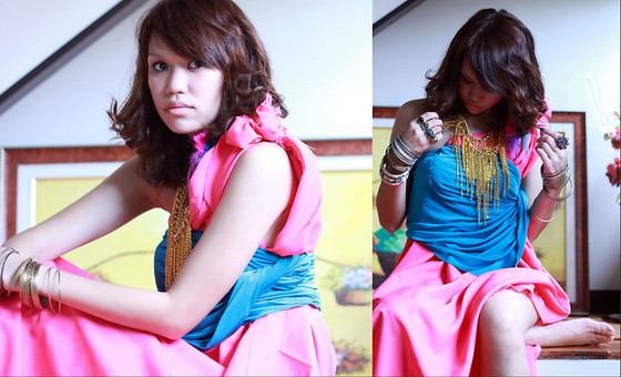 Mia Durano - Diy Chain Necklace, Pink Cloth, Bandage Skirt, From China Bangles - Pink Outtake