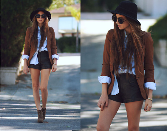 Bethany Struble - Tan Blazer, Leather Shorts - Denim X VIparo