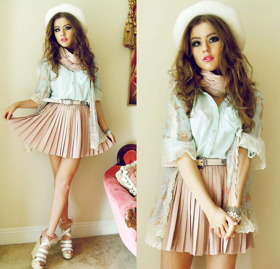 Bebe Zeva - Chic Wish Pastel Kimono, Romwe Pastel Blue Blouse, Romwe Accordion Pleat Skirt, Nine West Wedges - PALE AND PLEATED