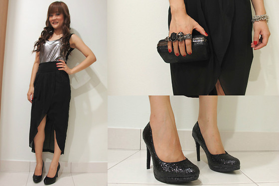 Ashley Liew - Silver Front Long Top, Black Tulip Skirt, Mcqueen Inspired Clutch, Sparkling Black Pumps - Shining in black