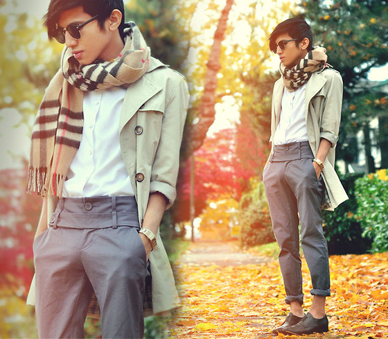 Mc kenneth Licon - Burberry Scotish Cashmere Scarf, Vintage Classic Shirt, Jnby Double Belted Trousers, Giorgio Armani Slip Ons - Autumn blues