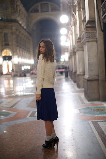 Erika Boldrin - Zara Sweater, Yves Saint Laurent Plissed Skirt, Marni Boots, Marni Silver Socks - In the night