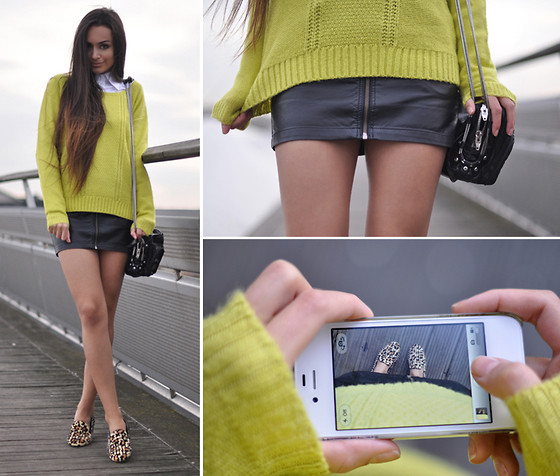 Intrigue U - H&M Zipper Skirt, Romwe Spiked Loafers, Alexander Wang Chain Bag, Asos Neon Sweater - Baring (In) The Cold