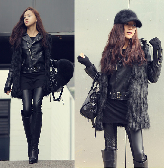 Becky Baek - Black Fur Vest, Black Rider Jacket, Balenciaga Black Leather Leggings, Black Long Boots, Black Bag, Black Angora Cap - All black