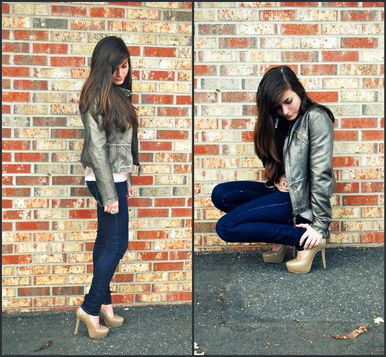 Francescaa N. - Forever 21 Leather Jacket, American Eagle Jeans, Charlotte Russe Heels - A LITTLE BIT OF ROCK AND ROLL