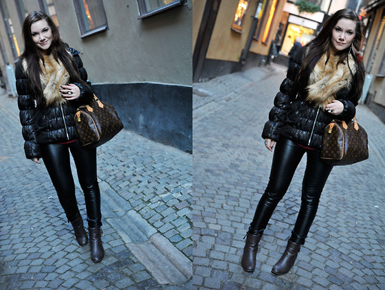 Ida Eriksson - Vila Leather Pants, H&M Jacket, H&M Fake Fur - Old town