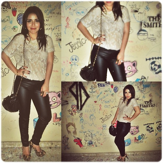 Hildeliza Martinez - Super Wall, P&B Crochet Cream Blouse, Zara Pleather Leggins, Lob Leopard Pumps, Bershka Pleather 3 Zippers Purse - The perfect combination of sexy and cute :*