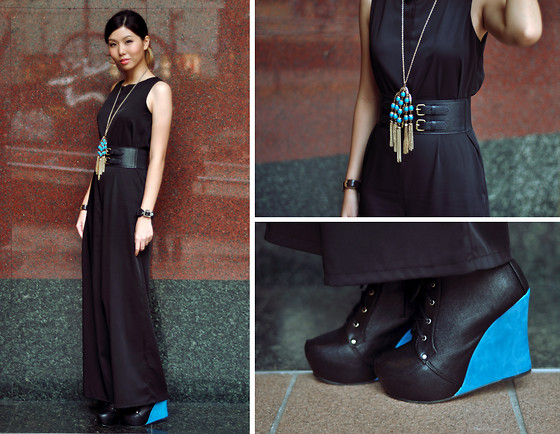 Lenne C. - Forever 21 Gold And Blue Necklace, Vvestiges Black And Blue Wedges, Thescarletroom Black Jumpsuit - Gravity