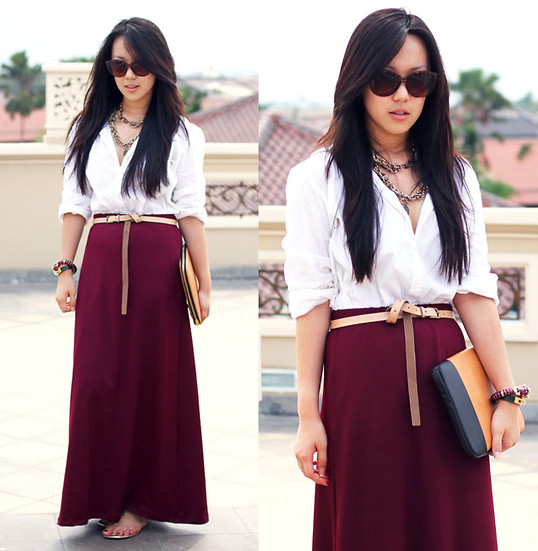 Michelle Koesnadi - Protechteur Ipad Clutch, Pretty Young Things Maxiskirt, Mango Sunglasses - BURGUNDY