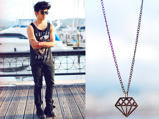 David Guison - Gift Diamond Necklace, Sm Accessories Red Watch, Topman Sunglasses, Cotton On Tank Top, Topman Pants, Forever 21 Boots - Wasted Chance