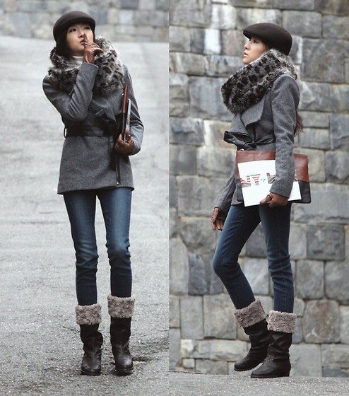 Becky Baek - Brown Hunting Cap, Leopard Fur Neck Warmer, Two Tone Clutch Bag, Zipper Wool Jacket, Skinny Jeans, Brown Boots - By accident