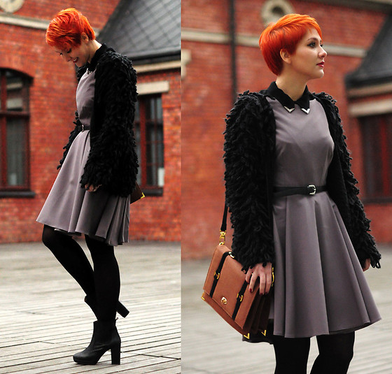 Sanna Z. - Love Cardigan, Romwe Bag, New Look Boots, Nife.Pl Dress - Mocca