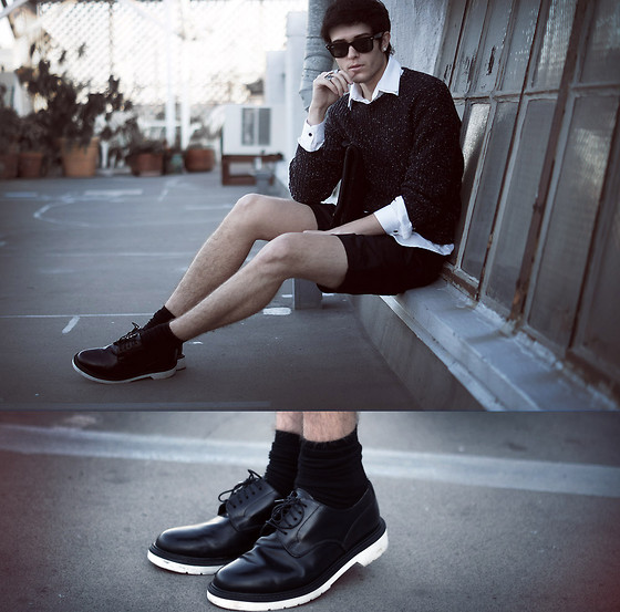 Adam Gallagher - Ray Ban Glasses, H&M Shirt, American Apparel Sweater, American Apparel Shorts, Topman Platforms - The blogger
