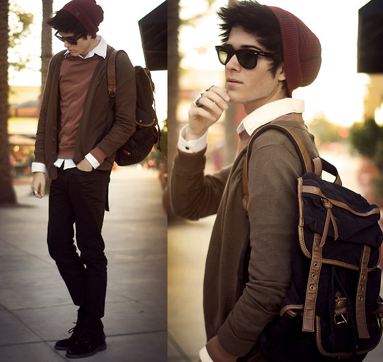 Adam Gallagher - Ambig Beanie, Zara Cardi, Urban Outfitters Backpack, American Apparel Sweater - The Sunset