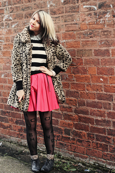 Charlotte Crowley - River Island Pink Skirt, Henry Holland Alphabetights, Miss Selfridge Fur Coat, New Look Striped Jumper, New Look Lace Up Boots - Betsey