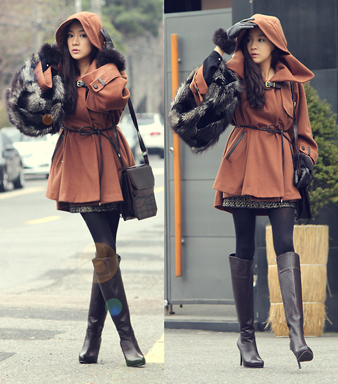 Becky Baek - Brown Cape Coat, Dark Brown Shoulder Bag, Dark Brown Leather Long Boots, Fur Neck Warmer - Go out