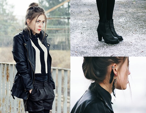Kasia Szymków - Stradivarius Long Jacket, Mango Leather Shorts, Ankle Boots, Striped Top, Glitter Ear Cuff - The first snow