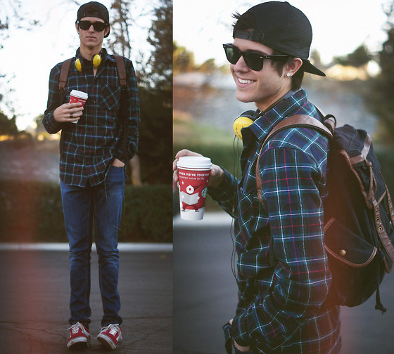 Adam Gallagher - Vans Red Shoes, Marc By Jacobs Headphones, Vans Hat, Ray Ban Glasses, American Apparel Flannel, Urban Outfitters Backpack, Zara Jean - The hipster