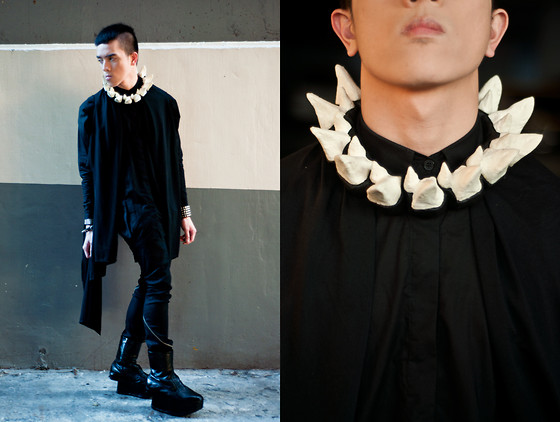 Paul Jatayna - Os Hoof Necklace, Asymmetrical Cardigan, Oxygen Buttondown Shirt, Gian Romano Pants, Soule Phenomenon Boots - ✟EATINGMEALIVE✟