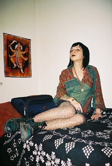 ☾  Nocticula Hekate ♆ - Floral Tribal Patterned Indian Shirt, Rhinoceros Teeth, Leopard Stockings, Dr. Martens Docs - Jai Kalika! Jai Kali! O dark mother, hear me calling thee