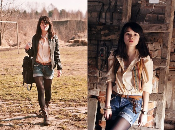 Grace J - Levi's® Shorts, Vintage Shirt, Pull & Bear Jacket - Back to old times