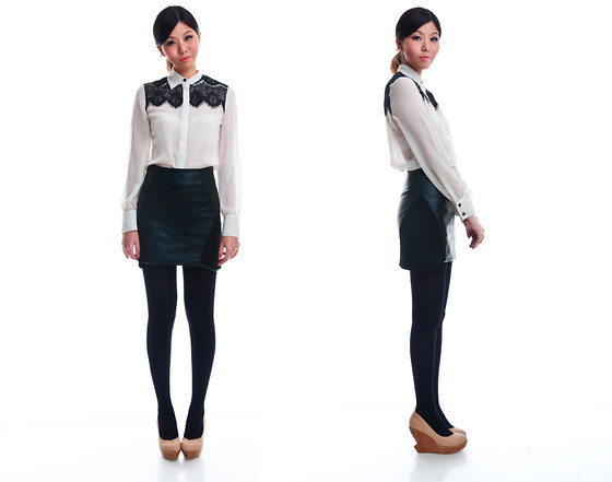 Lenne C. - Esprit Lace Shirt, Thescarletroom Leatherette Skirt, Nude Wedges - Redux