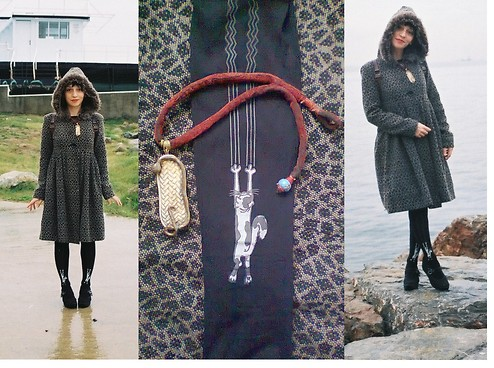 ☾  Nocticula Hekate ♆ - Leopard Flare Hooded Coat, Snake Wattle Necklace, Cat Leggings - The Snake Witch Goddess Plaits the Braids