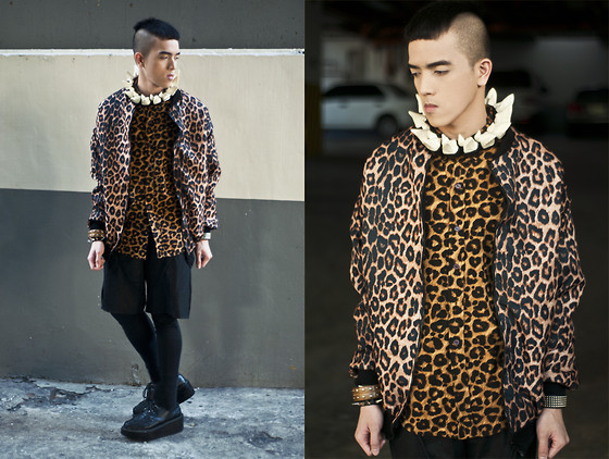 Paul Jatayna - Proud Race Leopard Bomber Jacket, Proud Race Leopard Buttondown Shirt, Os Hoof Necklace - ✞PUSSYMONSTER✞