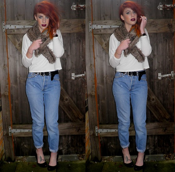 Heather C - New Look Faux Fur Stole, New Look Jersey Top, Levi's® Levi 501 Jeans, Melissa Peep Toe Shoes - The Cowboys Christmas Ball