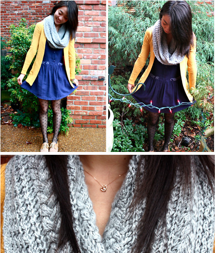 Mindy H - Forever 21 Bow Tights, Urban Outfitters Dress, Urban Outfitters Mustard Cardigan, Gap Gray Circle Scarf - ☆ anywhere anyone