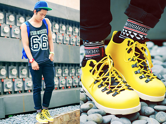 David Guison - Native Crayon Yellow Fitzsimmons Hiking Boot, Sm Accessories Cap, Cotton On Tank Top, Sm Accessories Rucksack, Sm Accessories Watch, Topman Pants, Topman Socks - The Fitzsimmons
