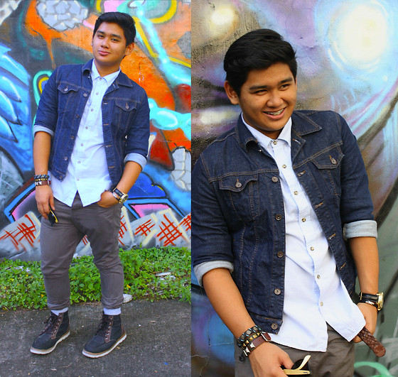 Xavier Cruz - Zara Denim Jacket, Forever 21 Blue Polo, Topman Carrot Pants, Boxfresh Boots, Fossil Big Gold Watch - Day with Friends.