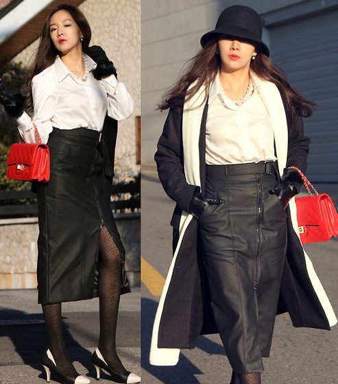 Becky Baek - White Shirt, Leather Zipper Long Skirt, Black Loose Fit Long Coat, Black Cloche - Black&white