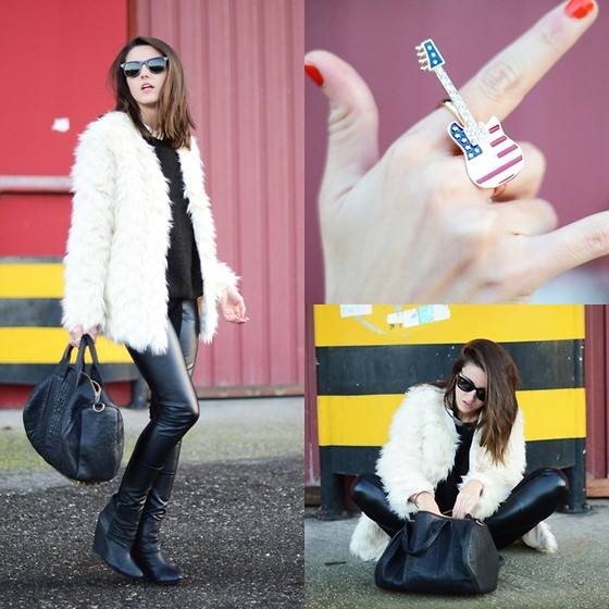 Alexandra Per - Style By Marina Faux Fur Coat, Lovelix Ring, Cafe Noir Booties, Alexander Wang Bag, Style By Marina Necklace - White faux fur