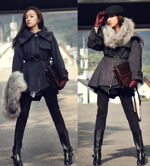 Becky Baek - Gray Cape Coat, Dark Brown Shoulder Bag, Fur Neck Warmer, Suede Pants, Leather Buckle Boots - Cape coat