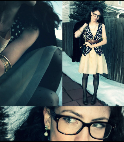 Amanda Christine W - Chanel Pearl Drop Earrings, Grandma's Closet Faux Fur Jacket, Nordstroms Bangles, Dotted Nylons, Polka Dot Vest, Chanel Glasses, Vintage Brown Leather Belt, Vintage Silk Organza Hepburn Dress - CHANEL: snow drift