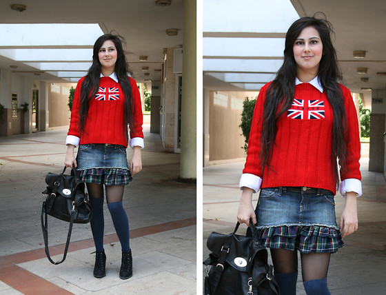 Victoria T - Thrifted Sweater, Fox Skirt, Topten Sachel, Pull & Bear Shoes, My Mom`S Old Shirt - English Schoolgirl