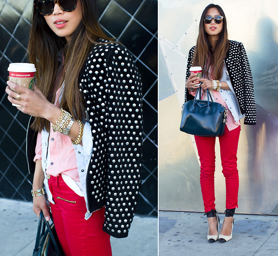 Aimee Song - Zara Studded Suede Jacket, Anarchy Street Spike Bracelets, Levi's® Button Down Shirt - STUDDED - Song of Style