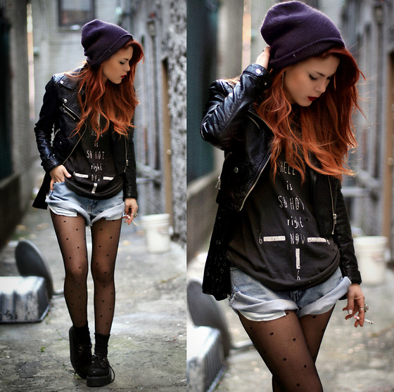 Lua P - Unif Beginning Boutique, Vintage Shorts, Creepers, H&M Second Hand Jacket - Drifter's Escape